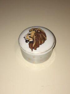 Trinket Jewelry Box Leo Zodiac Lion Small Round W/ Lid ENESCO 1979