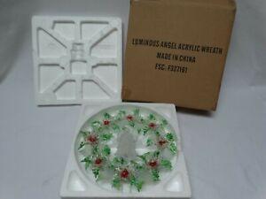 "Vintage Christmas Avon Luminous Angel Acrylic Wreath Color Changes 12"" NOS w/Box"