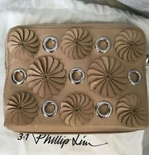 Phillip Lim Clutch Tan 3-D Floral Zip Top Silver Rings Small