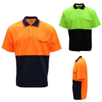 HI VIS Safety Work Wear Polo Shirt Cool Dry Breathable Short Sleeve Top Two Tone