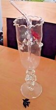 Unique Tall Hand blown Cocktail Glass w Birds & Glass Straw Attached