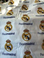 "Real Madrid Football Club fabric 100% cotton 1/2 Yard 18"" x 44"" HTF Mask Quilt"