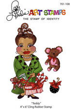 """Loralie Art Stamp - 701108 Teddy Christmas Lady - 4"""" x 6"""" Cling Rubber Sheet"""