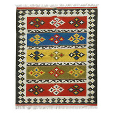 Hand Loomed Large KILIM Rug Tribal Geometric Pattern Fair Trade Autumn Tones
