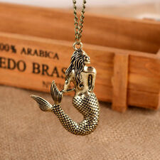 Retro Women Charm Gold Little Mermaid Pendant Sweater Chain Necklace Jewelry