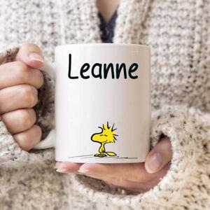 Snoopy personalised cute woodstock mug any name birthday gift 11oz