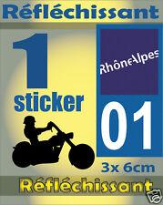 1 Sticker REFLECHISSANT département 01 rétro-réfléchissant immatriculation MOTO