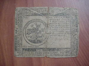 1776 FIVE 5 DOLLAR $5 CONTINENTAL COLONIAL CURRENCY HALL SELLERS NOTE FREE SHIP