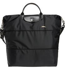 Longchamp Expandable Le Pliage Club Nylon Travel Bag Duffel Tote ~NIP~ Black