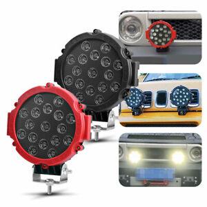 7in LED Work Light Bar Pods Flood Driving Round Offroad SUV UTV ATV Truck Lamp