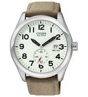 Citizen Eco-Drive Men's Calendar Ivory Dial Canvas Strap 43mm Watch BV1080-18A