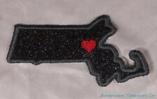 Embroidered Black Glitter Sparkle Massachusetts MA Love State Patch Iron On USA
