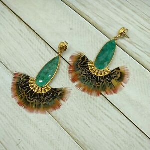 GAS Bijoux Earrings Feathers Green Gold Plated