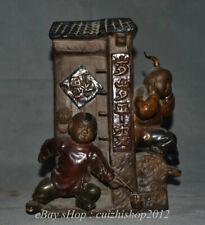 "10"" Old China Wucai Porcelain Children Boys Set off firecrackers Door Statue"