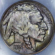 1935-S Buffalo Nickel 5C NGC MS66 - Colorful Toning - Fat Slab