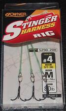 """3 Pack OWNER 5290-208 STINGER Harness Rigs Size 4 Treble Hooks 80lb 4 1/2"""" Line"""