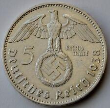 5 Reichsmark 1938 A, Third Reich Germany, Paul von Hindenburg