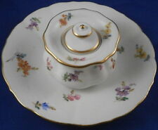Antique Meissen Porcelain Floral Inkwell & Lid & Saucer Set Porzellan Tintenfass