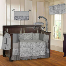 BabyFad Grey Damask 10 Piece Baby Crib Bedding Set (Including Musical Mobile)