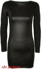 NEW WOMENS LADIES BLACK PVC WET LOOK SHINY LONG SLEEVED MINI BODYCON DRESS 8-26