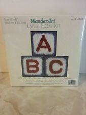 """Wonderart Abc Latchhook Kit. 8"""" x 8"""". Caron New / Sealed"""