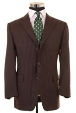 Dunhill Brown Flannel Twill Chalkstripe 100% Wool 2pc Suit Jacket Pants 50 40 S