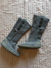 Women's Ugg Sweater Button Boots Size 6 Gray UGG