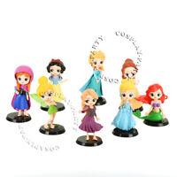 Princess Action Figures Toys Gift 8 pcs Snow White Elsa Anna Tinker Bell Belle