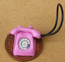1:12 Scale Pink Old Style Rotary Telephone Dolls House Miniature Accessory Phone