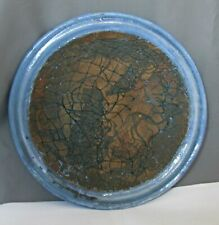 Art Platter Trimmed w/ Double Ridge Blue Outer Margin -Framing Brown Earthenware
