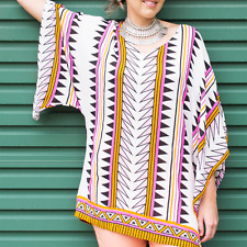 Vibrant Aztec Print Top NEW Womens Onesize 8 10 12 14 Stretchy Soft Tunic