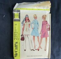 McCalls Pattern 2593 Sz 12 Bust 34 Misses A-Line Dress Tunic Pants 1970s Vtg CUT