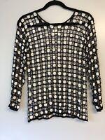 Cache Womens Mesh Knit Open Beaded Top Shirt Black White M