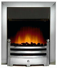 ELECTRIC CHROME SILVER SURROUND REMOTE MODERN FIREPLACE FLAME INSERT INSET FIRE