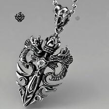 945aea8d4c9fc8 Silver pendant vintage style stainless steel dragon sword cz chain necklace  60cm
