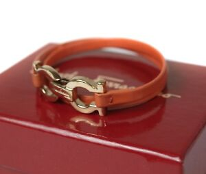 Salvatore Ferragamo Ganchini Gold Plated, Leather Bracelet / Choker FA0025