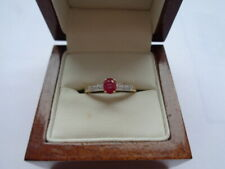 9ct gold ruby & diamond solitaire ring size O hallmarked 0.45ct ruby