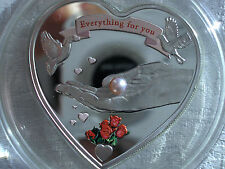 """PALAU $ 5 2008"""" EVERYTHING FOR YOU """" SILVER HEART WITH RED PEARL rare"""
