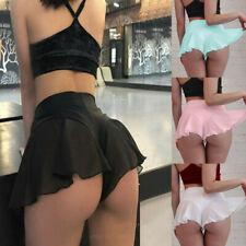 Women Sexy Short Skirts Micro Mini Dress Chiffon Sheer Tennis Ballet Dance Skirt