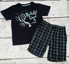GYMBOREE Boys East Coast Harbor Blue Nantucket Lobster Tee and Plaid Shorts 5 5T