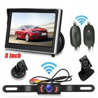 "5"" TFT LCD Monitor + Wireless Car Rear View System Night Vision Backup Camera HD"