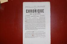 Journal regional; La chronique de l'ouest N°33 21Nov 1857-Les droits de la  Femm
