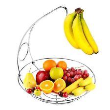 Banana Hook Hanger Fruit Bowl Basket Chrome Kitchen Dinning Table Decor Stand