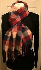 New wool cashmere blend scarf red beige blue plaid check luxury soft VGC