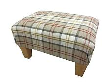 Luxury Upholstered Footstool in a Quality Biscuit Tartan Fabric