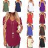 US Women Casual Short Sleeve T Shirt V Neck Summer Swallowtail Hem Blouse Tops