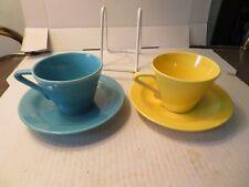 2 Vintage Harlequin Tea Cup & Saucer Sets Blue & Yellow Homer Laughlin China