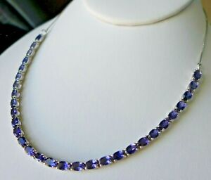 10.87Ct Natural Bengal Iolite 925 Sterling Silver Tennis Necklace, Certificate