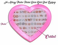 36 Pairs girl's 10mm fashion no allergy plastic cute Silver gold stud earrings