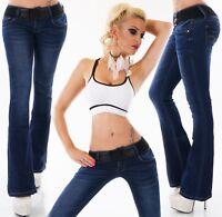 Damen Bootcut Hüft Jeans Hose Schlag Schlaghose dunkelblau Gürtel XS S M L XL